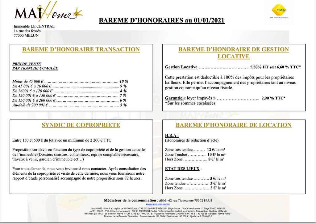 Honoraires Maihome